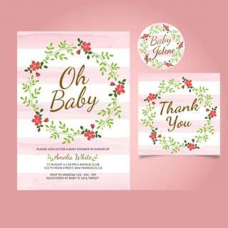 Customized Baby Shower Girl Invitation Card, Thank you card, Gift Tags