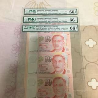 Fixed Price - Singapore Portrait Series $10 Polymer Banknote 3 in 1 Uncut Sheet PMG 66 EPQ - $158 Each