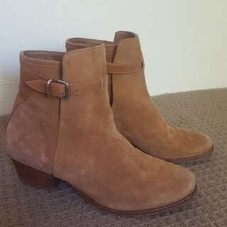Trenery tan suede leather ankle boots
