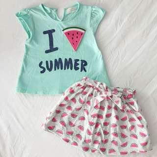 Summer Watermelon Little Girl 2 Pc Set