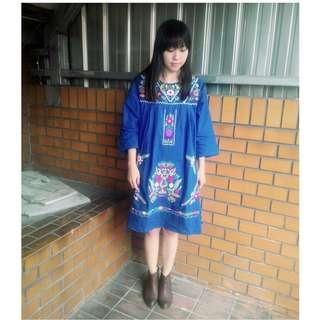 日貨cancan 寶藍色墨西哥刺繡洋裝 古著 used