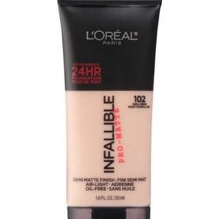 Loreal Infalible Pro Matte Foundation 102 Shell Beige