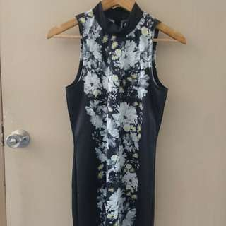 DOTTI FLORAL BODY CON DRESS