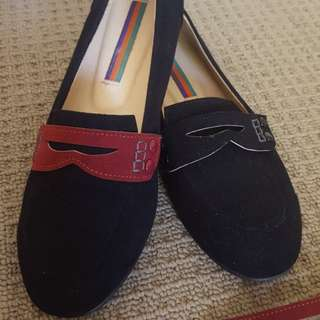 Black suede loafer flats