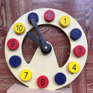 wooden puzzl clock with stand