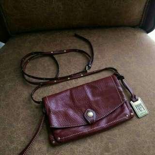 Frye leather clutch crossbody bag