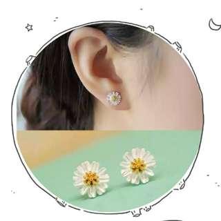 🌼 精緻925純銀小雛菊耳環,耳釘 🌼