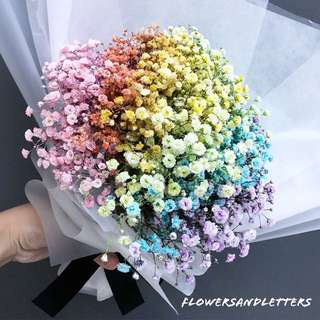 Baby Breath Bouquet Rainbow baby's breath fresh flower bouquet 💐 hand bouquet flower bouquet