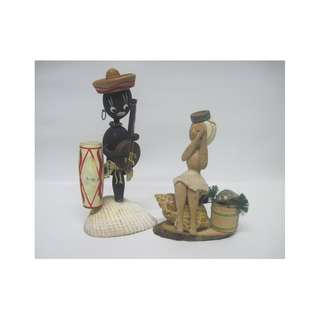 Black & White Wooden Doll Figurines w/ Shells / Decor