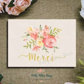 Floral Card - Merci (Thank You)