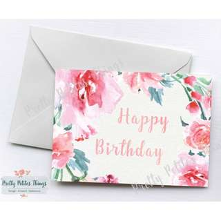Customizable Watercolor Floral Card - Happy Birthday