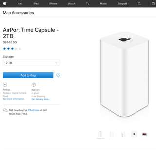Apple Airport Time Capsule 2TB , AC WiFi Router & Backup