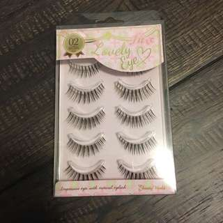 False eyelashes 5 pk brown/black with lash tweezer