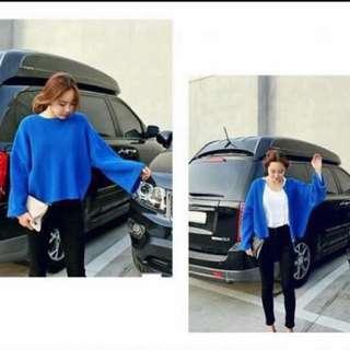 韓版寶藍色兩穿穿法粗針織毛衣外套