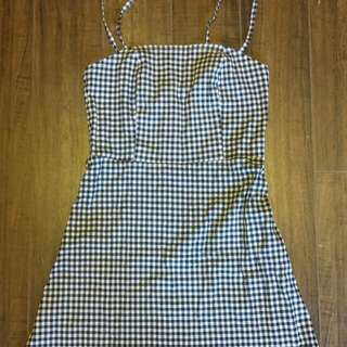 Topshop Gingham Straight Neck Mini Dress