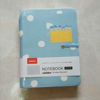 Brand new Miniso lined Notebook Blue with Pen