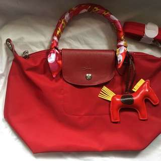 Authentic longchamp neo small with complete inclusion card dust bag paper bag twilly & rodeo