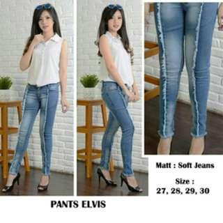 Celana Wanita Pants Elvis Ripped Jeans Sobek Celana Jeans Wanita
