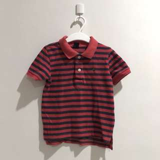 Preloved - Baby GAP Polo Stripes Red Navy Size 90/2 years