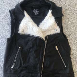 Faux leather/fur vest