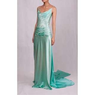 green real silk evening dress