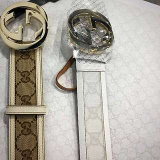 White Gucci Belt