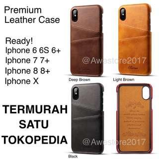 Premium Leather Case Card Slot Casing Kulit Iphone X Ten