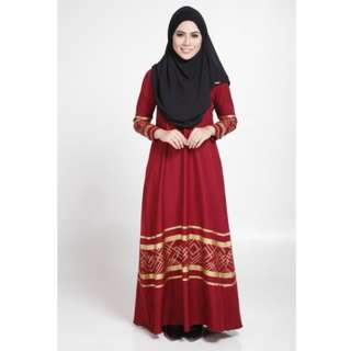 MODERN LONG SLEEVE GOLD CURVE JUBAH DRESS (RED, SIZE M)