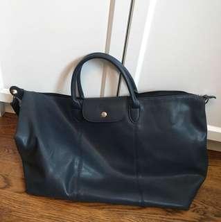 PRICE DROP*Replica longchamp faux leather navy le pliage travel bag