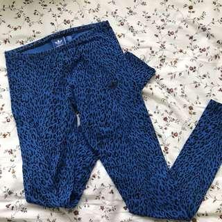ADIDAS blue leopard leggings