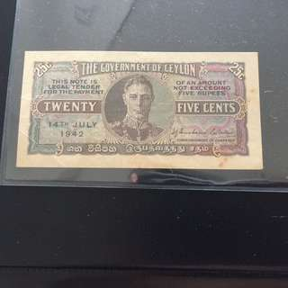Ceylon 1942 King George 25 cents banknote