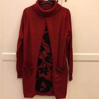 假兩件翻領紅色100%羊毛針織洋裝