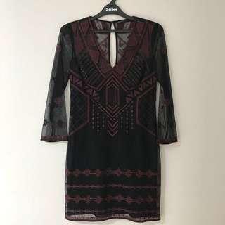 Karen Millen red/black dress