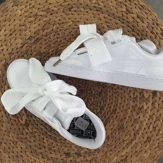 Puma Basket Heart Trainer In Patent White