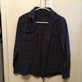 Shirt size M navy+green cotton