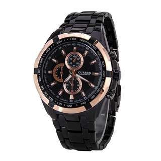 CURREN Black Rose Gold Stylish Quartz Movt Stainless Steel Watchband Mens Wrist Watch