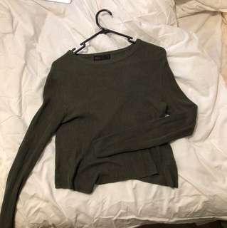 Khaki cropped cardigan