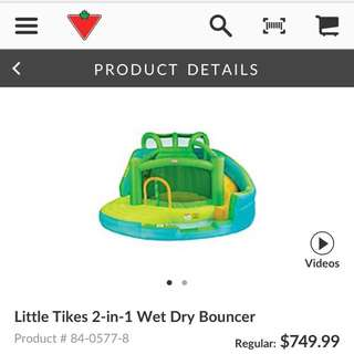 Inflatable bounce castle little tikes wet and dry w water slide