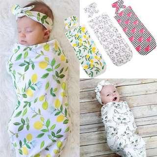 Baby Swaddle wrap headband set