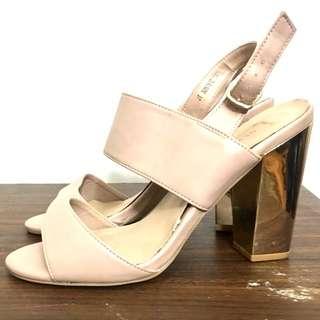 Metallic Block Heeled Sandals