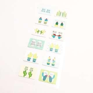 Cactus Themed Index Sticker Sheet