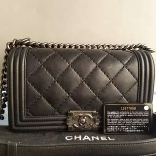 Authentic Chanel Medium Boy Black Quilted Lambskin Bag