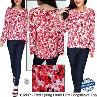 Calvin Klein red spring floral print Longsleeve