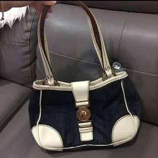 Authentic miu miu canvas with leather handbag