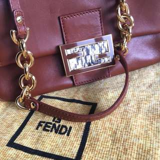 Fendi leather handbag with snakeskin buckle