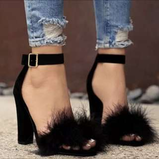 Fluffy block heels strappy sandals faux fur ostrich feathers
