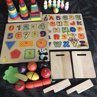 Super deal set of wooden educational toys