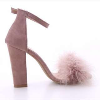 Fluffy block heels faux fur ostrich feathers soft pastel nude dusty pink
