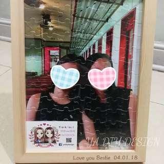 DIY puzzle photo frame