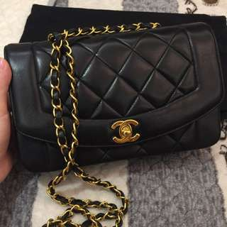Chanel Diana bag 23cm lambskin 24k gold hardware bag
